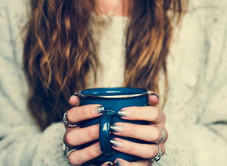 holding chaga tea