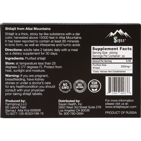 Shilajit Tablets back