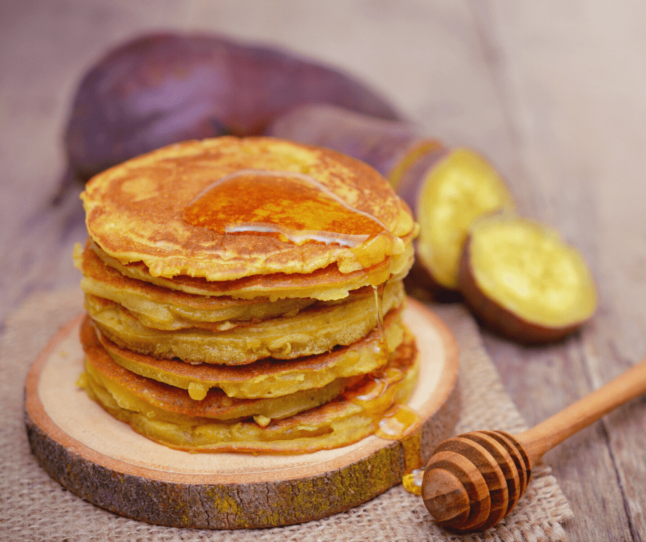 Sweet Potato Pancakes with Choco Chaga Syrup